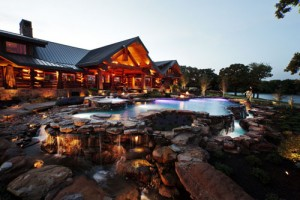 Photo shoot of a log cabin for Passion Lighting, in Westlake, Tx.