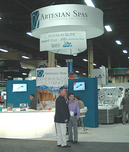 Artesian spas displays new 2016 hot tubs at pool and spa for Pool spa show vegas 2015